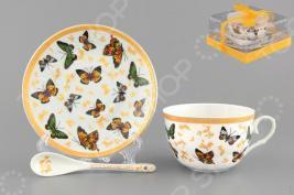 Чашка чайная с блюдцем и ложкой Elan Gallery «Бабочки»