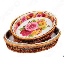 Набор форм для выпечки керамических Mayer&Boch «Домашний уют». Рисунок: розы