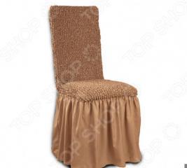 Натяжной чехол на стул с юбкой Еврочехол «Микрофибра. Кофейный»