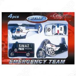 Набор машинок игрушечных Welly «Служба спасения. Полиция» 98630-4A