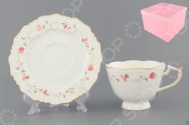 Чашка чайная с блюдцем Elan Gallery «Нежные розы»