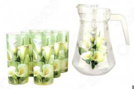 Набор: кувшин и 6 стаканов Коралл «Калла»