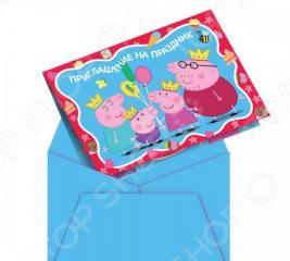 Приглашения в конвертах Peppa Pig «Пеппа-принцесса»
