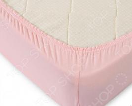 Простыня ТексДизайн на резинке. Цвет: розовый