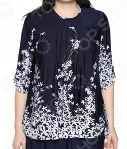 Блуза LORICCI «Грациозная особа». Цвет: синий. Размер: 72. Уцененный товар