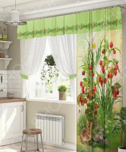 Комплект штор для окна с балконом ТамиТекс «Земляничный букет»