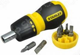 Отвертка STANLEY Stubby Multibit с реверсом и 6 вставок