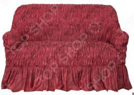 Натяжной чехол на двухместный диван Еврочехол «Фантазия. Вишня»