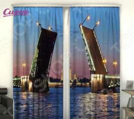 Фотошторы Сирень «Развод моста»