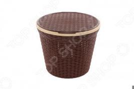 Корзина для белья круглая с крышкой Violet 2512 «Ротанг»