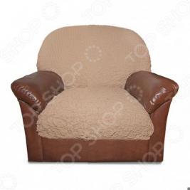 Натяжной чехол на подушку для кресла Еврочехол «Модерн. Какао»