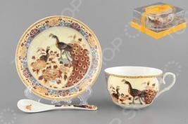 Чашка чайная с блюдцем и ложкой Elan Gallery «Павлин на бежевом» 730471