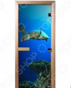 Дверь для бани с фотопечатью Банные штучки «Черепаха» 32685