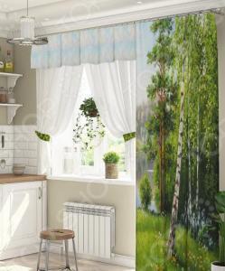 Комплект штор для окна с балконом ТамиТекс «Березки»