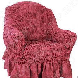 Натяжной чехол на кресло Еврочехол «Фантазия. Вишня»