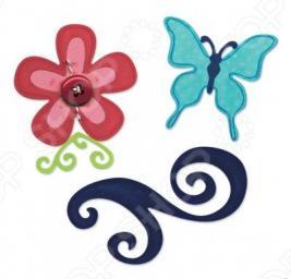 Набор форм для вырубки Sizzix Sizzlits Бабочка, цветок, завиток