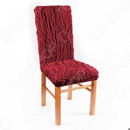 Натяжной чехол на стул Еврочехол «Модерн. Рубин»