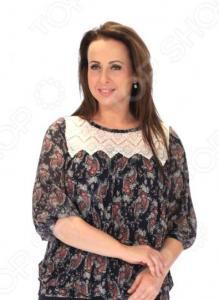 Блуза Wisell «Нежное кружево». Цвет: синий, красный