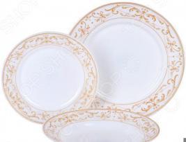 Набор столовой посуды Rosenberg «Грация». Количество предметов: 18. Рисунок: золотое украшение