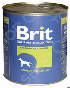 Корм консервированный для собак Brit «Говядина и сердце»