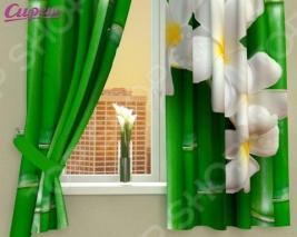 Фотошторы Сирень «Плюмерия и бамбук»
