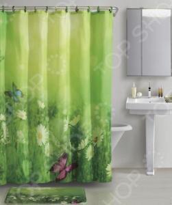 Набор для ванной комнаты: 2 коврика и шторка с крючками Рыжий кот «Лето»