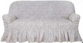 Натяжной чехол на трехместный диван Еврочехол «Фантазия. Белый мрамор»