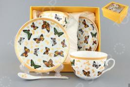 Чайная пара с ложками Elan Gallery «Бабочки»