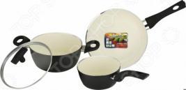 Набор кухонной посуды c внутренним керамическим покрытием Vitesse «Black–and–White» VS-2901
