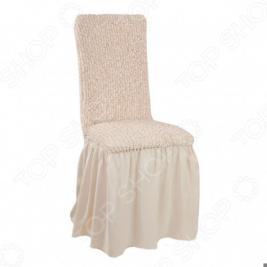 Натяжной чехол на стул с юбкой Еврочехол «Микрофибра. Ваниль»