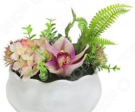 Декоративные цветы Dream Garden «Гортензия розовая и орхидея» в вазе