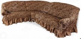 Натяжной чехол на угловой диван Еврочехол «Фантазия. Шоколад»