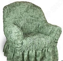 Натяжной чехол на кресло Еврочехол «Фантазия. Зеленый»