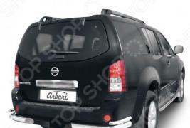 Защита заднего бампера «уголки» Arbori двойная для Nissan Pathfinder, 2005-2009