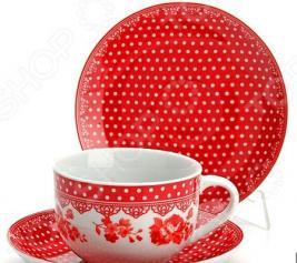 Чайный сервиз Loraine LR-25907 «Горошек». Цвет: красный