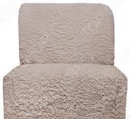 Натяжной чехол на кресло без подлокотников Еврочехол «Модерн. Какао»