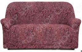 Натяжной чехол на двухместный диван Еврочехол «Виста. Руж»