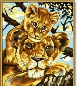 Набор для рисования по номерам Schipper «Львица с львенком»