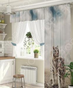 Комплект штор для окна с балконом ТамиТекс «Белые тигры»