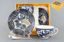 Чайная пара с ложками Elan Gallery «Павлин синий» 730490