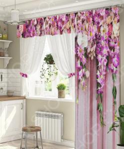Комплект штор для окна с балконом ТамиТекс «Ламбрекен из цветов»