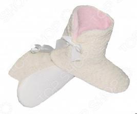 Тапочки-угги домашние Burlesco H44. Цвет: молочный