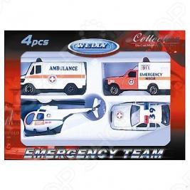 Набор машинок игрушечных Welly «Служба спасения. Скорая помощь» 98630-4B