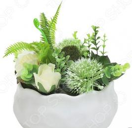 Декоративные цветы Dream Garden «Гортензия зеленая и розы» в вазе