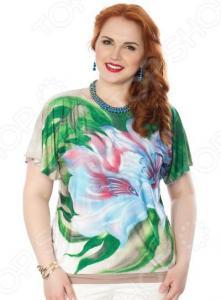 Блуза Wisell «Южный ветер». Цвет: бежевый, зеленый