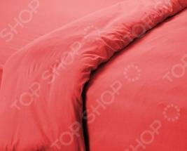 Пододеяльник трикотажный ТексДизайн гладкокрашеный. Цвет: коралловый