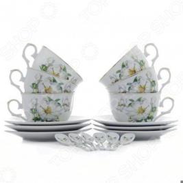 Чайный набор с ложками Elan Gallery «Белый шиповник» 180685