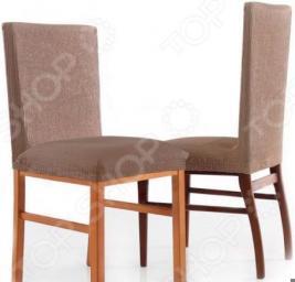 Комплект натяжных чехлов на стул Еврочехол «Рустика». Цвет: бежевый