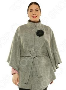 Пончо-пальто Blagof «Жаклин» с декоративной брошью