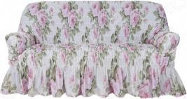 Натяжной чехол на трехместный диван Еврочехол «Фантазия. Чайная роза»